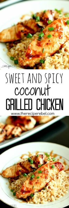 Sweet and Spicy Coconut Grilled Chicken: The best sweet, sticky and slightly spicy grilled chicken you'll ever make (no seriously)! Marinated in spices and coconut milk, this chicken has a mild coconut flavor that is out of this world! www.thereciperebel.com