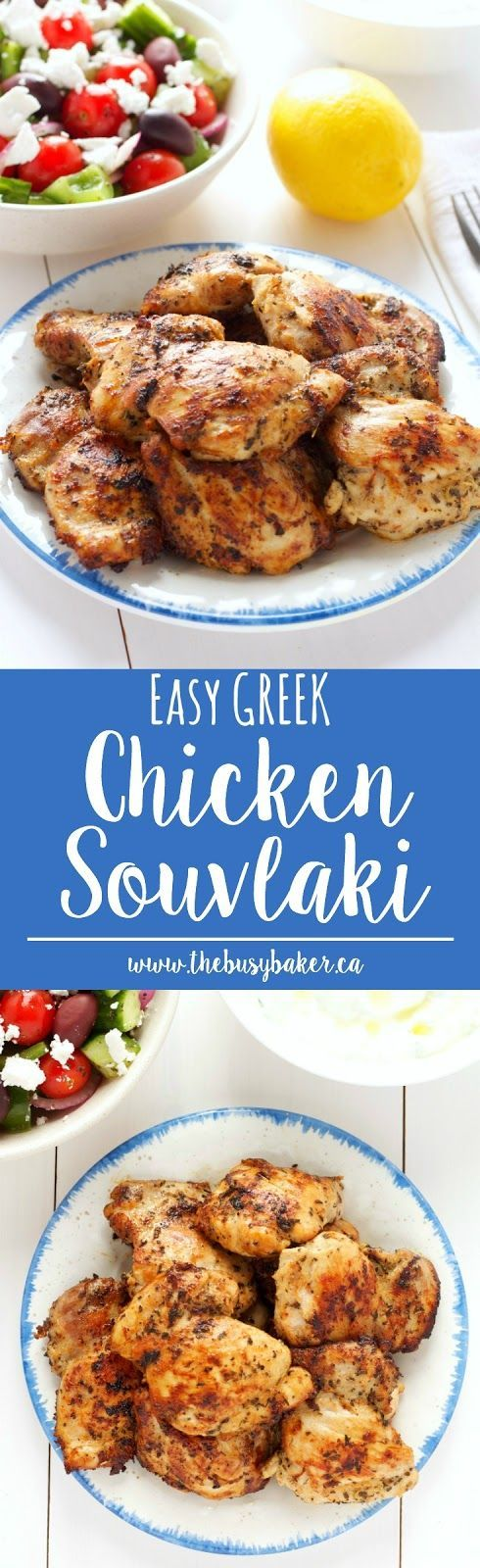 Easy Greek Chicken Souvlaki http://www.thebusybaker.ca