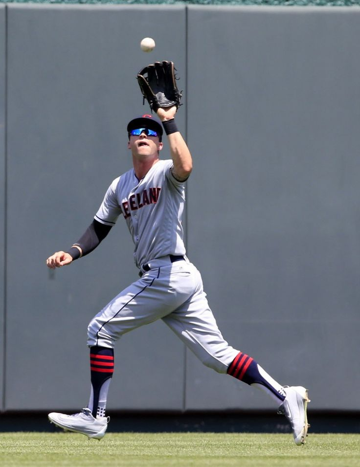 Cleveland Indians center fielder Tyler Naquin catches a fly ball hit by Kansas City Royals right fielder Jarrod Dyson during the third inning at Kauffman Stadium in Kansas City, Mo., Wednesday, July 20, 2016.Indians won 11-4 (AP Photo/Orlin Wagner)