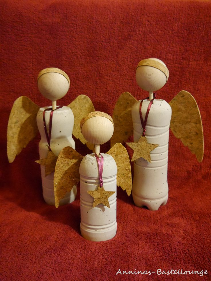 Beton Engel mit Kork Flügel