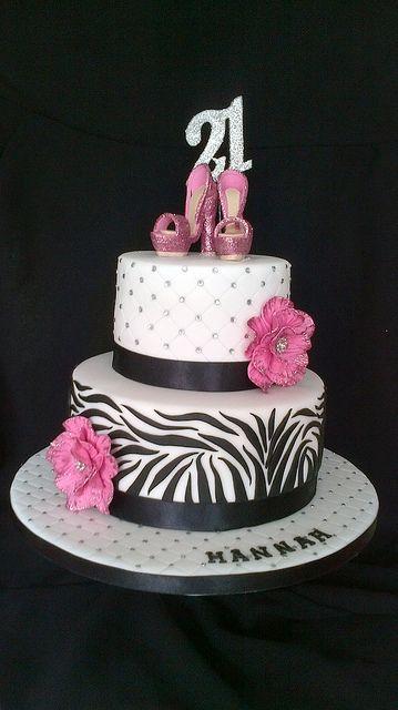 Zebra bling shoe cake