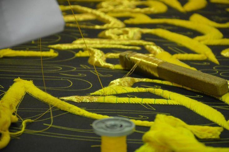 Gold thread embroidery technique, Saudi Arabia handicrafts