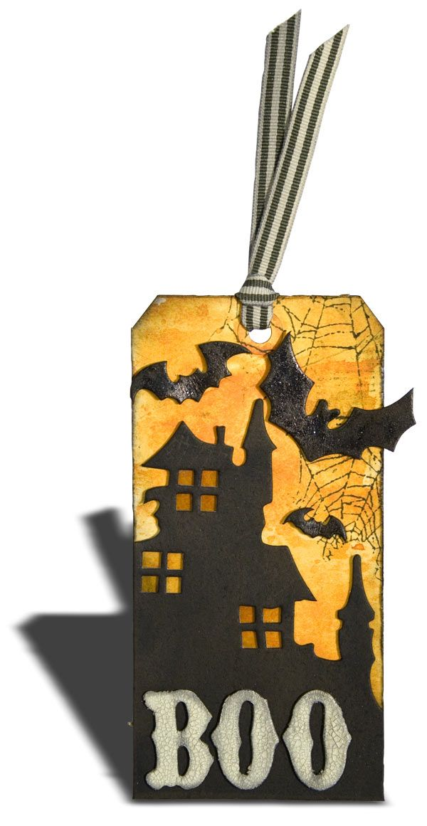 Boo! Check out this Halloween tag created with Tim Holtz products.