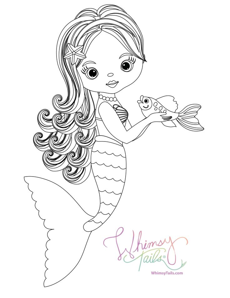 Mermaid holding her pet fish. Free Coloring Book Page
