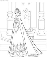 Королева Эльза - скачать и распечатать раскраску. Раскраска Раскраски Холодное сердце бесплатно, раскраски для девочек, раскраски для девочек распечатать