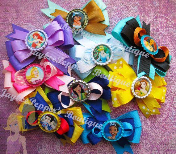 Disney princess hair bows Aurora Cinderella Ariel Brave Merida Pocahontas Mulan Tiana Snow White Rapunzel hair bow party favor girls
