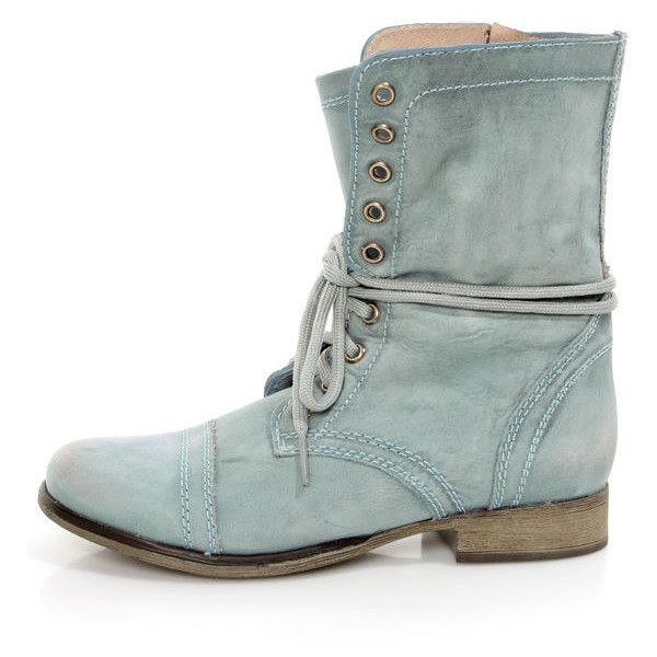 Steve Madden Troopa Blue Leather Lace-Up Combat Boots (385 RON) ❤ liked on Polyvore featuring shoes, boots, army combat boots, army boots, leather combat boots, distressed combat boots and distressed leather boots
