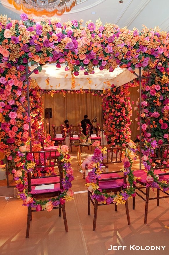 Pink flowered mandap indian wedding decor indian mandap for Home decor ideas for indian wedding