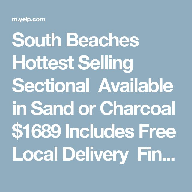 South Beaches Hottest Selling Sectional Available In Sand Or Charcoal $1689  Includes Free Local Delivery Financing. Wholesale FurnitureAtlantic ...
