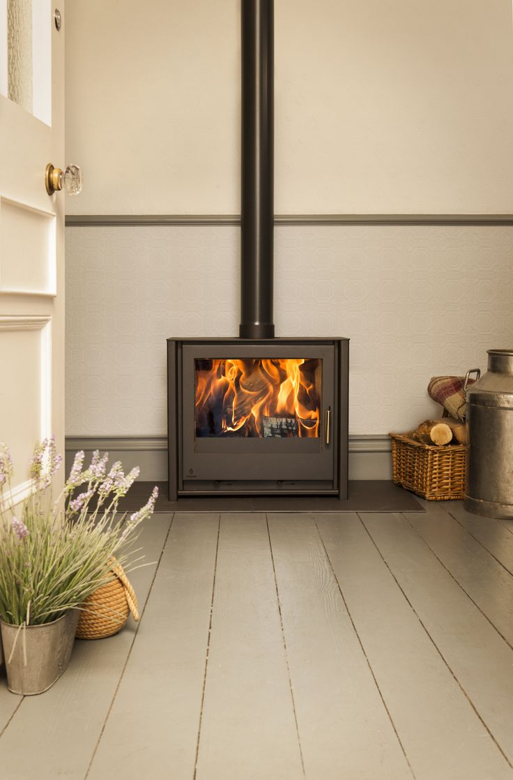 This is a contemporary freestanding wood burning stove. This model is
