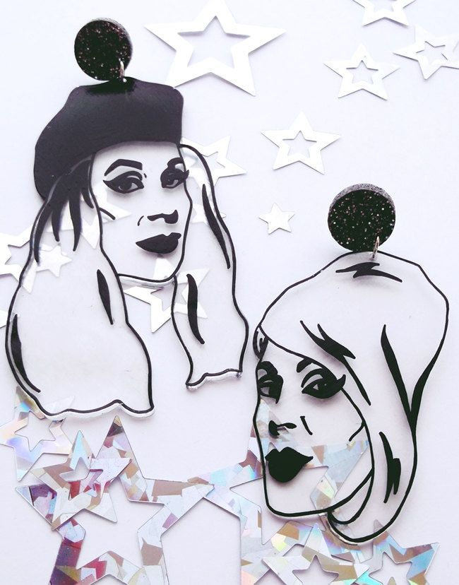 Super-sized Patsy and Eddie Absolutely Fabulous statement illustrated earrings by littleMclothing on Etsy