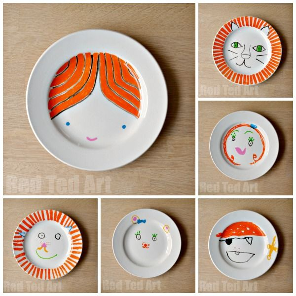 "Get the kids designing and making their own ""Art Plates"". These make for wonderful gifts to family and friends."
