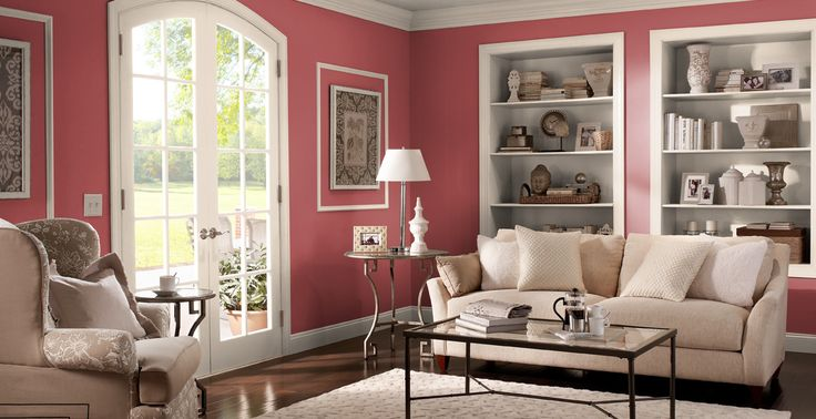 Flamingo tinge interior colors inspirations pompeian - Red interior paint colors ...
