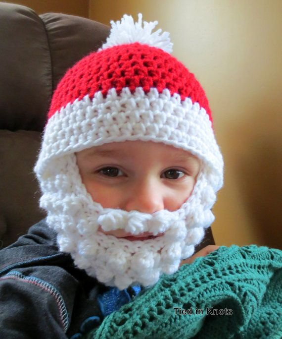 Crochet Santa Bearded Beanie Hat on Etsy TiedinKnotsCrochet, $18.00 or www.Facebook.com/TiedinKnotsCrochet.TIK