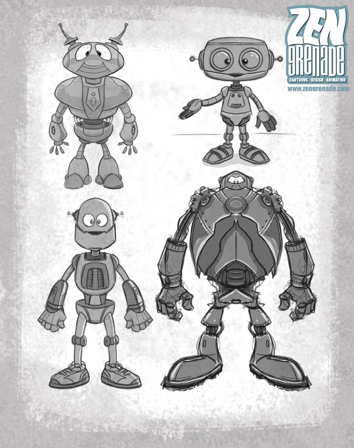 Character Design Set : A set of four cute robot character designs created in