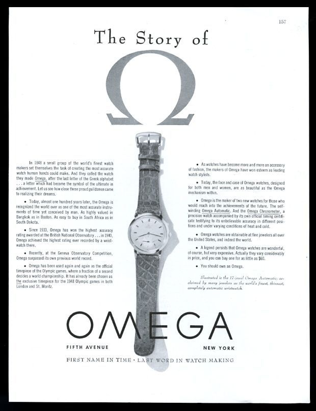 1947 Omega Automatic Watch Photo The Story of Omega. Vintage Print Ad. #omega #automatic #story #vintage #watches #watch #ad #ads #stawc