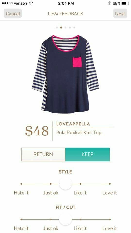 Loveappella Pola Knit pocket - love, love this top and in this exact color. I'm into the navy & pink combo right now. It would be cute for casual Friday at work. https://www.stitchfix.com/referral/7840593