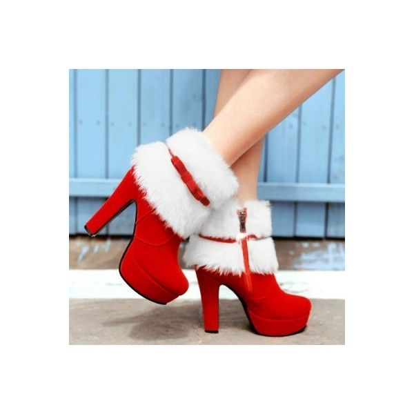 Bowknot Platform Fuzzy Chunky Heel Boots (61 BAM) ❤ liked on Polyvore featuring shoes, boots, platform shoes, thick heel shoes, chunky heel platform shoes, chunky heel platform boots and fuzzy shoes