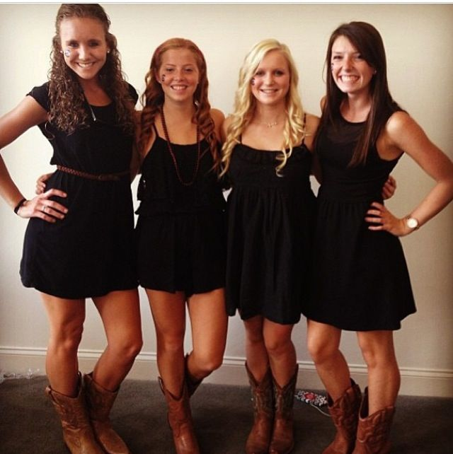 Black dresses & cowboy boots. It's college GAMEDAY