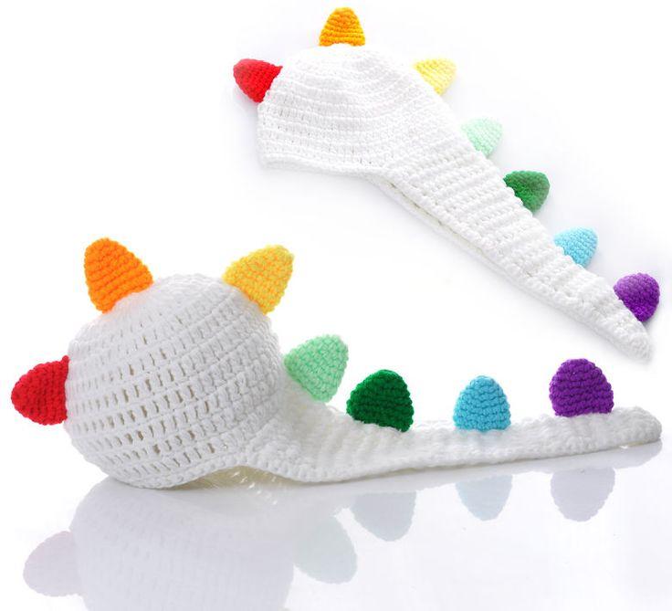 $7.77 Newborn Baby Knit Velvet Beanie Dinosaur Photo Photography Props Hat Cap Set  #EOZY