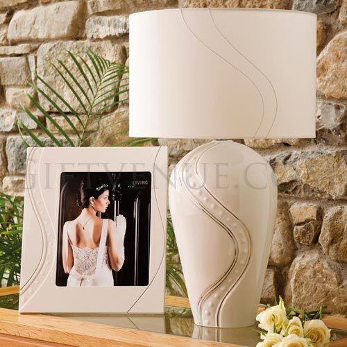 Belleek Silver ripple lamp & shade