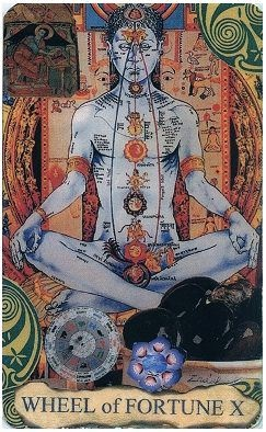 Using the Indian Chakra is an interesting, if not traditional. take on the X - Wheel of Fortune Tarot card.