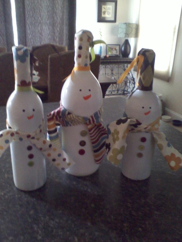 Winter wine bottles (snowmen)