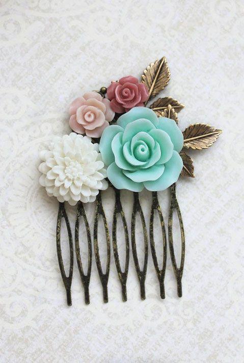Flower Hair Comb Mint Rose Bridal Hair Comb
