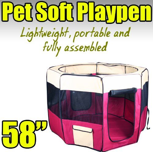 New 58' 2X-Large Dog Pet Cat Playpen Kennel Exercise Pen Crate Fence - Red * Check out this great image  : Dog kennels