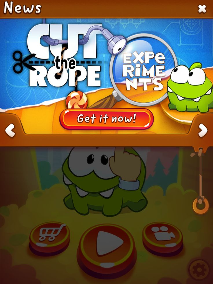 CUT the ROPE 2 | News Monetisation | UI, HUD, User Interface, Game Art, GUI, iOS, Apps, Games, Grahic Desgin, Puzzle Game, Brain Games, Zeptolab | www.girlvsgui.com