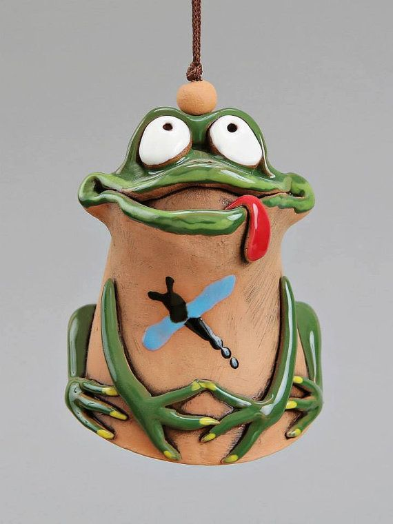 Ceramic Frog Bell Green Frog Kids toy School by Molinukas on Etsy, €6.00