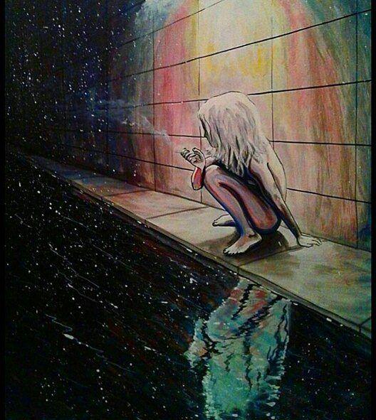 рисунки про одиночество красками они