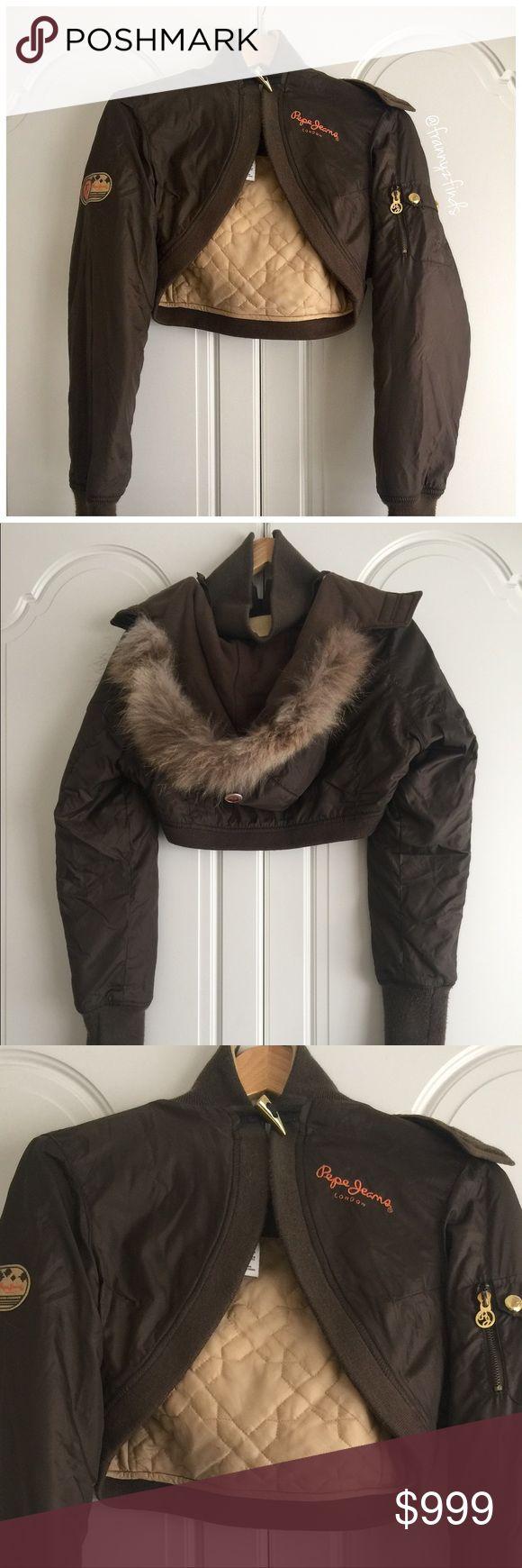 • london find II • pepe london • crop • detachable hood • faux fur hood trim • gold hardware • single toogle closure Pepe Jeans Jackets & Coats