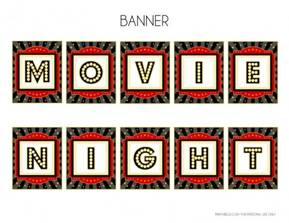 Movie Night Printables on free movie night party printables by printabelle