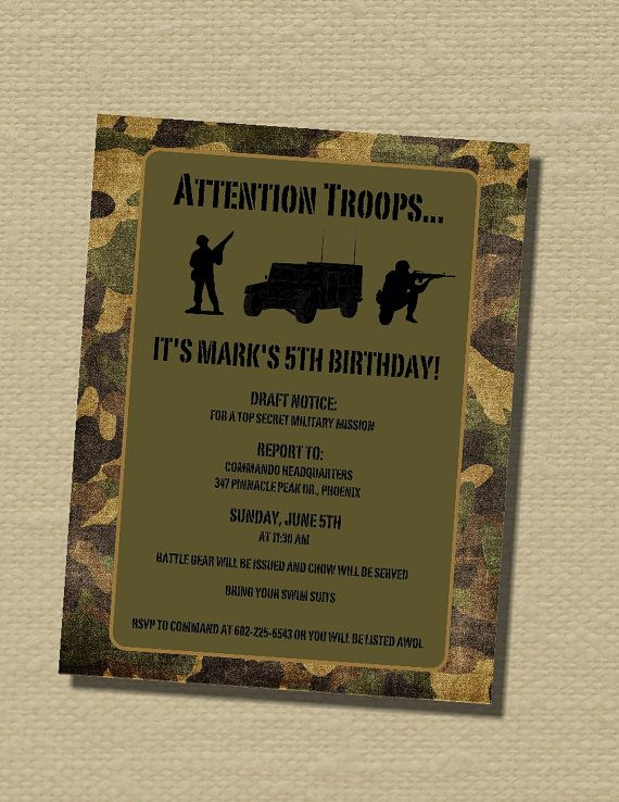 13 best army images on pinterest army party army birthday parties custom birthday invitation party invitation invitation printed on cardstock or digital image army soldier birthday invitations stopboris Image collections