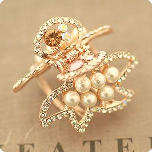 Pearls Crystal Diamond Hollow Out Seafish Hair Claw