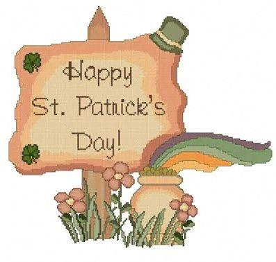 Happy St Patricks Day cross stitch pattern.