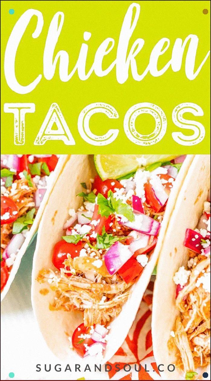 Diese geriebenen Hühnchen-Tacos sind ein einfaches und schmackhaftes Abendessen, das Sie mit …