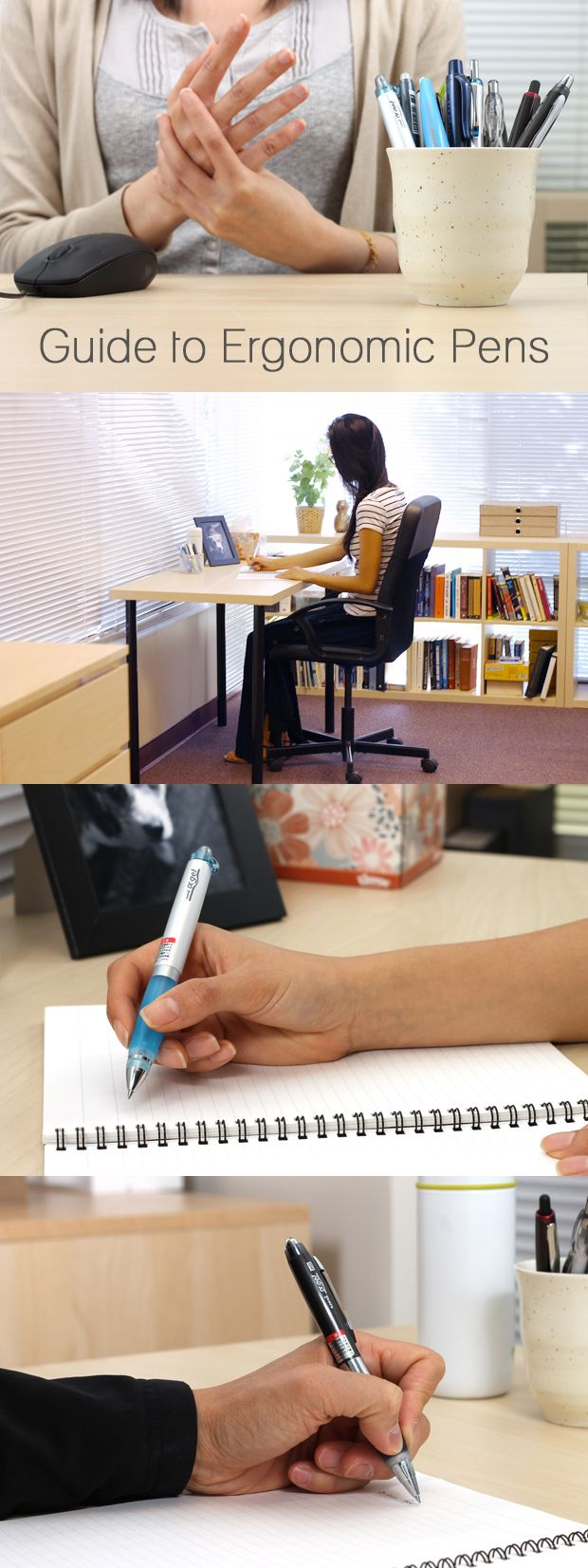 The key to fatigue-free writing is a good ergonomic pen. Check out our favorites here: http://www.jetpens.com/blog/ergonomic-pens/pt/84?utm_source=pinterest&utm_medium=social&utm_campaign=guides_and_tutorials