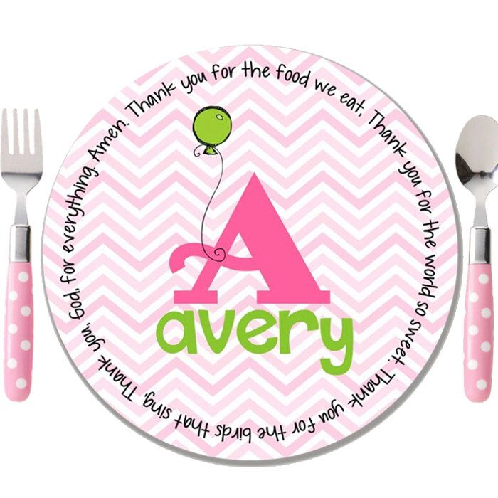 Kids Melamine Plate - Childrens Name Plate - Godchild Gift - Baptism Plate - Special Day Plate - First Birthday Plate - Chevron Initial Girl by GraceSettings on Etsy https://www.etsy.com/listing/263992724/kids-melamine-plate-childrens-name-plate