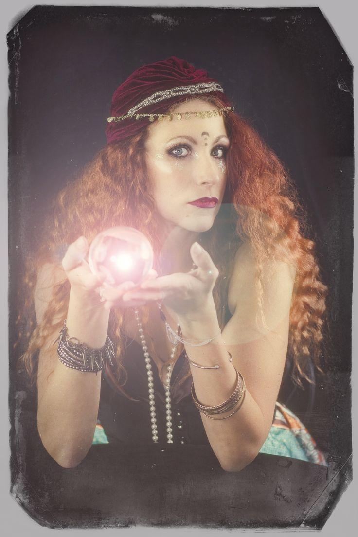 circus, carnival, gypsy, fortune teller, vintage, redhead, turban, crystal ball