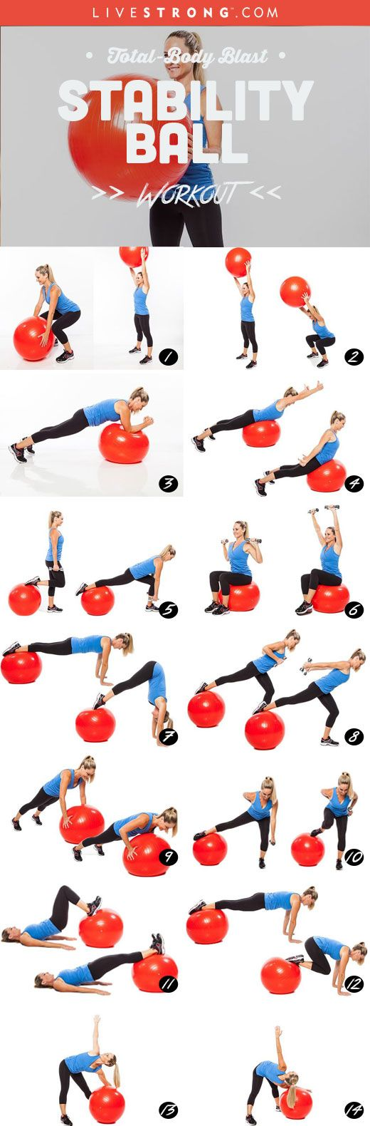 Total-Body Blast Stability Ball Workout: http://www.livestrong.com/slideshow/1007856-total-body-ball-blast-workout/                                                                                                                                                                                 More