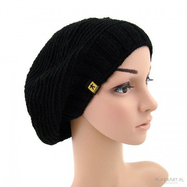 Czarny beret - Czapki, berety - Ubrania