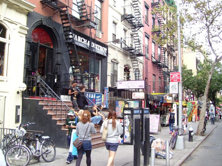 St. Marks Place between Third and Second Avenues is one of the main commercial streets of the East Village