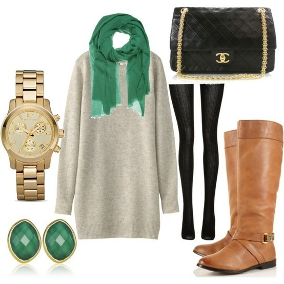 Oversized Sweater, Emerald Green Accessories, Leather Boots