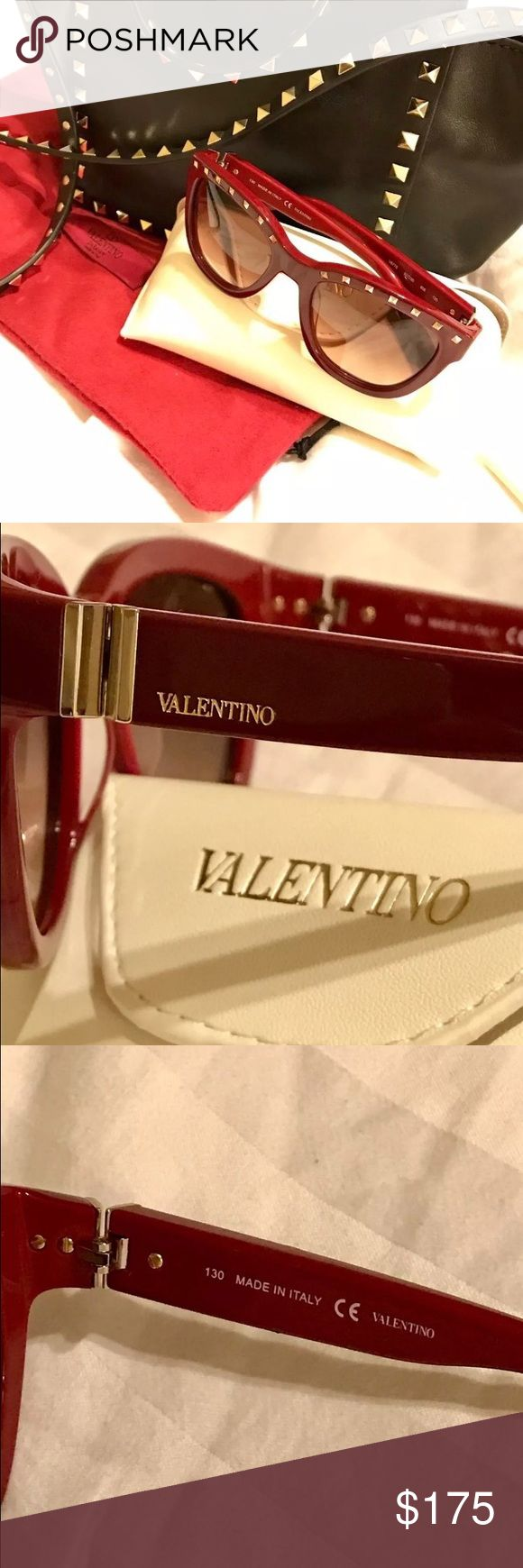 Valentino Sunglasses Red/Rouge Noir Brand new Valentino Sunglaases. Comes with soft case and cloth. Never been use! Super cute and chic! No scratches! Bag not included in this listing. That's my baby :) Valentino Garavani Accessories Sunglasses