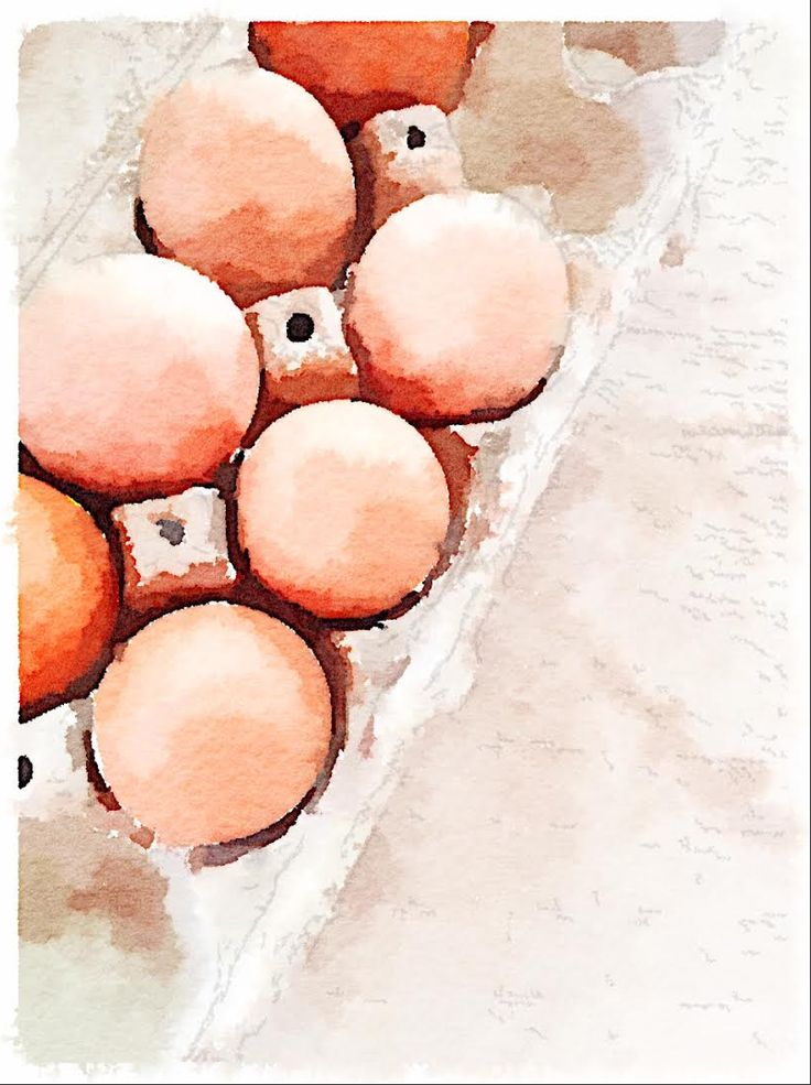 Farm Fresh Eggs - Waterlogue App on an iPhone. It's amazing. Makes you wonder why you want to learn to paint!
