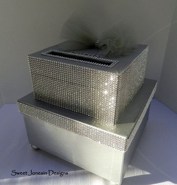 Silver Wedding Gift Card Holder : Wedding Card Box Diamond Mesh Ribbon Sweet 16 Wedding, Gift cards ...