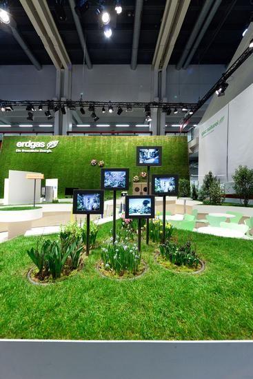 Love the juxtaposition of hi-tech with nature! ~ Goldener Swissbau Design Award für Erdgas Messeauftritt | werbewoche