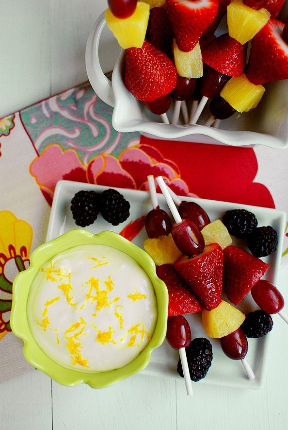 Fruit dip made with cream cheese, marshmallow fluff, and frozen orange juice